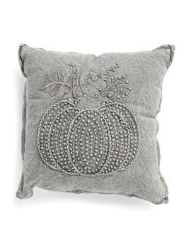 18x18-pumpkin-pillow-with-french-knots by handcrafted-in-india