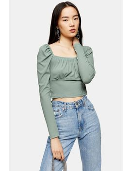 long-sleeve-gathered-neck-top by topshop