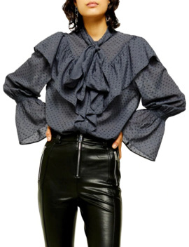 tie-ruffle-dobby-blouse by topshop