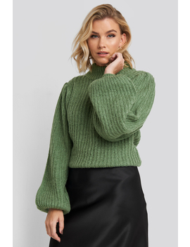 puff-sleeve-knitted-sweater-green by na-kd