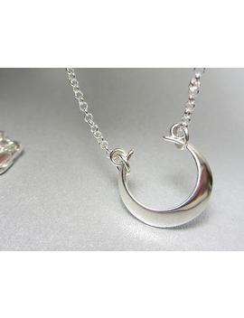 925-sterling-silver-crescent-moon-necklace-domed-crescent-moon-pendant-layering-necklace-new-moon-necklace-sideway-necklace-shiny-gift by etsy