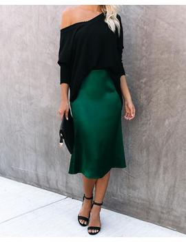 savoir-faire-satin-midi-skirt---hunter-green by vici