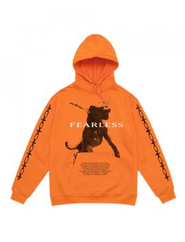 hoodie-orange-fearless by wasted