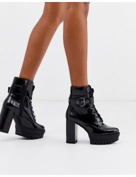 bershka-buckle-detail-heeled-boots-in-black by bershka