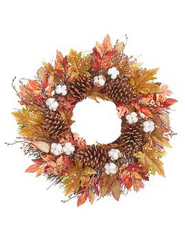 """22""""-fall-cotton-&-pinecones-wreath by pier1-imports"""