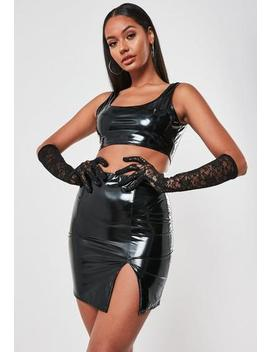 black-vinyl-square-neck-crop-and-mini-skirt-co-ord-set by missguided
