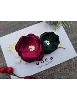 traditional---christmas---party---festive---red-green---gold---glitter---flower-headband---baby-headband---girls-hairband---flower-crown by etsy
