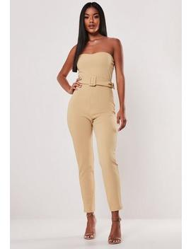 stone-self-belted-bandeau-jumpsuit by missguided