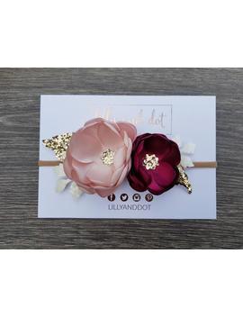 blush-pink---burgundy---rose-gold---glitter---boutique---flower-headband---baby-headband---girls-hairband---flower-crown---gold-and-burgundy by etsy