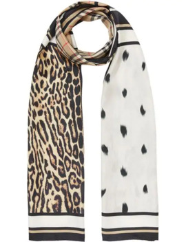 vintage-check-and-animal-print-silk-scarf by burberry