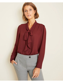 houndstooth-bow-neck-blouse by ann-taylor