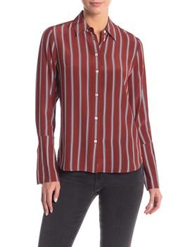 striped-pj-long-cuff-silk-blouse by frame-denim