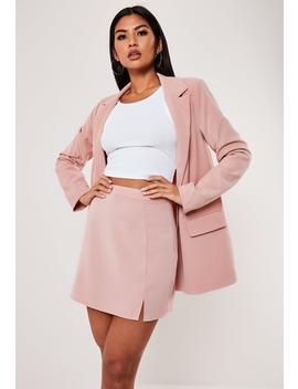 petite-pink-co-ord-side-split-a-line-mini-skirt by missguided