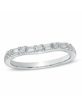1/4 Ct. T.W. Baguette And Round Diamond Alternating Contour Wedding Band In 14 K White Gold by Zales