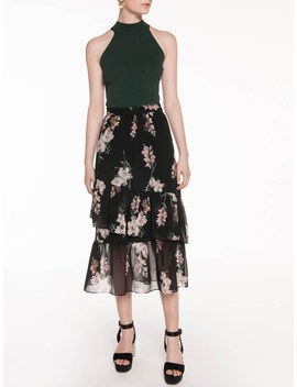 digital-blossoms-floral-skirt by veronika-maine