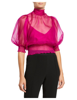 cleo-sheer-elbow-sleeve-top by cinq-a-sept
