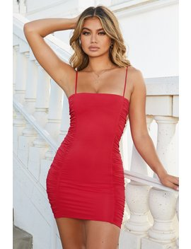 side-eye-ruched-square-neck-bodycon-mini-dress-in-red by oh-polly