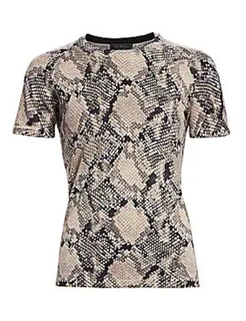 collection-snakeskin-print-cashmere-short-sleeve-sweater by saks-fifth-avenue
