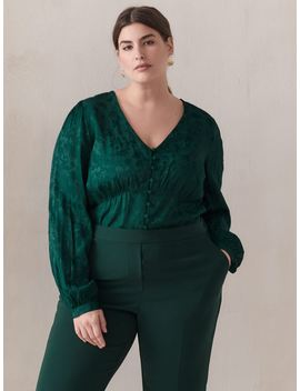 green-jacquard-balloon-sleeve-blouse---addition-ellegreen-jacquard-balloon-sleeve-blouse---addition-elle by addition-elle