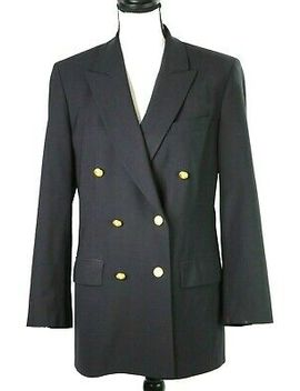brooks-brothers-womens-10-brookease-blazer-jacket-wool-double-breasted-navy-blue by brooks-brothers