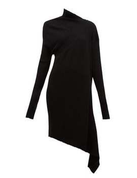 draped-asymmetric-knitted-merino-wool-dress by marquesalmeida