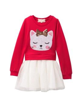 sequin-kitty-fleece-&-tutu-skirt-dress-(toddler-&-little-girls) by btween