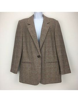 sag-harbor-womens-10-blazer-jacket-brown-plaid-wool-double-breasted-one-button by sag-harbor