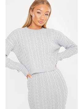 laila-loves-grey-marl-cable-knit-co-ord-jumper by in-the-style