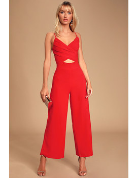 so-ladylike-red-surplice-cutout-jumpsuit by lulus