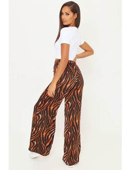 rust-zebra-satin-wide-leg-trousers by i-saw-it-first