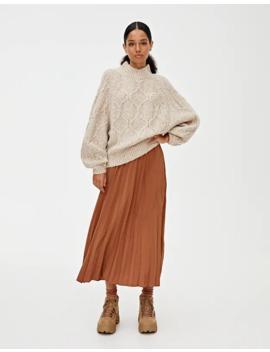 falda-midi-plisada-básica by pull-&-bear