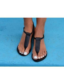 black-sandals,-t-strap-sandals,-black-leather-sandals,-ancient-greek-leather-sandals,-handmade-thong-sandals-erin by etsy