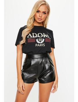 tall-black-faux-leather-shorts by missguided