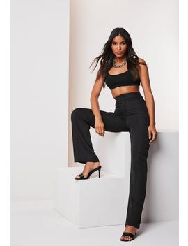 tall-black-co-ord-seam-detail-straight-leg-pants by missguided