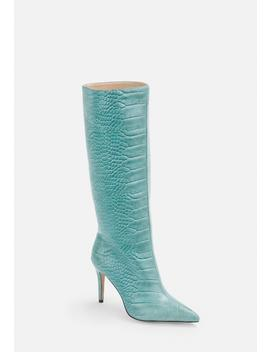 blue-mock-croc-mid-heel-knee-high-boots by missguided