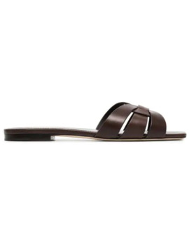 brown-tribute-woven-leather-sandals by saint-laurent