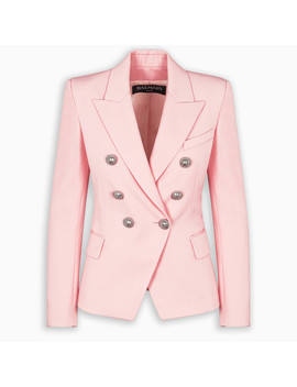pink-double-breasted-blazer by balmain