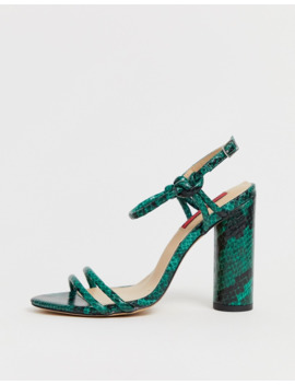 london-rebel-strappy-snake-block-heeled-sandals by asos