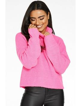 fuchsia-knit-roll-neck-cropped-jumper by quiz