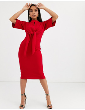 boohoo-petite-wiggle-midi-dress-with-tie-waist-in-red by boohoo