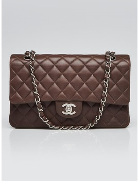 brown-quilted-lambskin-leather-classic-medium-double-flap-bag by chanel