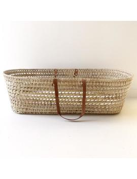 """baby-bassinet-""""moses""""-(80x40cm),-in-natural-palm-leaves-and-leather-handles-(without-pompons) by etsy"""