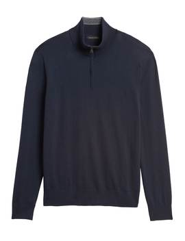 Cotton Cashmere Half Zip Sweater by Banana Republic
