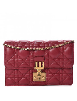 christian-dior-lambskin-cannage-dioraddict-wallet-on-chain-clutch-red by christian-dior