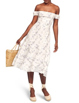 toulouse-off-the-shoulder-fit-&-flare-dress by reformation