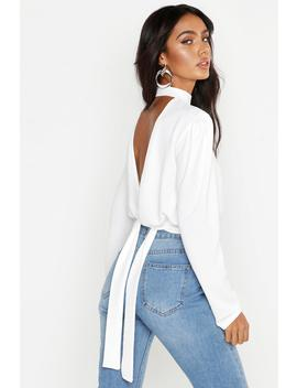 woven-open-back-blouse by boohoo