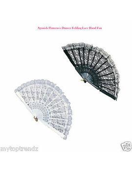spanish-flamenco-dancer-folding-lace-hand-fan-fancy-dress-geisha-in-black,-white by ebay-seller