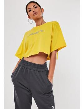 yellow-printed-crop-t-shirt by missguided