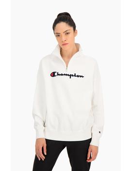 Half Zip Up Script Logo Oversized Sweatshirt by Champion