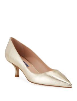 cindy-metallic-kitten-heel-pumps by stuart-weitzman